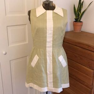 Vintage 50s 60s shift sage green & cream